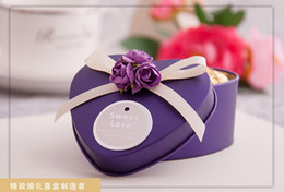 Wholesale Tin Party Pails - January New Style 50Pcs Lot Purple Color Tin Boxes Beauty Love Wedding Favor Holders Gift Box Free Shipping