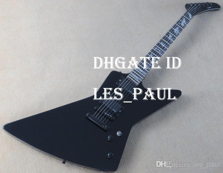Rare Guitars James Hetfield Black Explorer Electric Guitar Man to Wolf MOP Fingerboard Inlay EMG Active Pickups Black Hardware