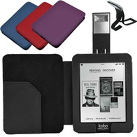 Wholesale Thinnest Reading Light - S5Q Magnetic Ultra Thin Leather Cover Case For KOBO Mini eReader + LED Reading Light AAACKE