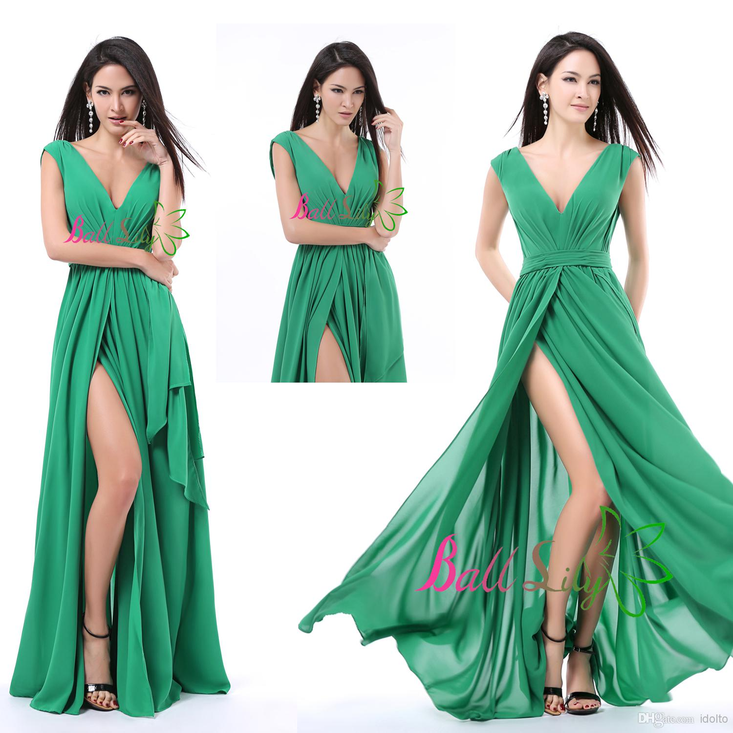 In Stock 2014 Modern Green Prom Dresses Evening Gowns Column Chiffon ...