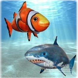 Wholesale Fish Sharks - Air Swimmers Shark Remote Control Remote Clownfish Flying Fish Ugly Fish Aerial Shark