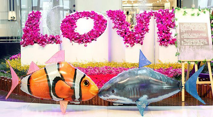 Festa Air Swimmers Controle Remoto Tubarão Peixe Voador Clownfish Remoto Peixe Feio Tubarão Aéreo Amostras