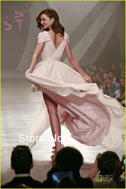 Rosa chfon v-neck a-line hi-lo cap ärmar flowy charm prom klänningar kväll klänning kändis klänning gratis frakt ny ankomst