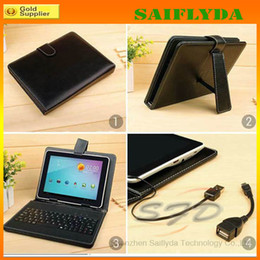 """Wholesale Hot Stylus - hot selling 9 colors Universal 7"""" 7 inch tablet pc keyboard case leather case with keyboard and stylus pen"""