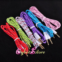 Wholesale 3 mm Audio AUX Car Extention Cable Braided Woven wire Auxiliary Stereo Jack Male m ft Lead for Iphone c s Ipod Mobile Phone Speaker