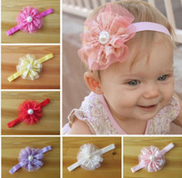 Wholesale Wholesale Pearl Headband - Hot Sale Hair Accessories For Infant Baby Lace Big Flower Pearl Princess Babies Girl Hair Band Headband Baby's Head Band Kids Hairwear QZ406