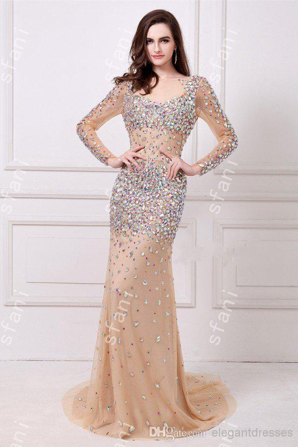 Designer 2019 Vackra glamorösa långa ärmar öppna BACK BEADED MERMAIOID EVENTKAPE PARTY PROM DRESSES ANGELA22-3