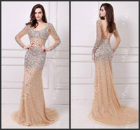 Wholesale Beautiful Deep Purple Dress - Designer 2014 Beautiful Glamorous Long Sleeves Open Back Beaded Mermaid Evening Gown Party Prom Dresses Angela22-3