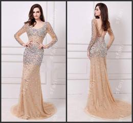 Wholesale Glamorous Deep V Neck Dress - Designer 2014 Beautiful Glamorous Long Sleeves Open Back Beaded Mermaid Evening Gown Party Prom Dresses Angela22-3