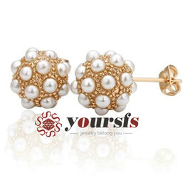 Wholesale rose gold clip charm - Yoursfs Noble Princess style Charming Gift Austrian Crystal 18 K Rose Gold Plated Pearl Ball Earring For Women Costume Clip Elegant Jewelry