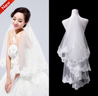 Wholesale Cheap Embroidered Stockings - Top Quality Elegant 2T White Ivory Crystal Beaded Lace Wedding Veils Bridal Veils With Lace Wedding Favor Veils Cheap In Stock Free Shipping