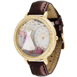 Wholesale Korea Ladies Watch - New Original Korea Mini Watch Lady 3D Clay Romatic Wedding Golden Rhinestone Women wrist watch ,FREE SHIPPING