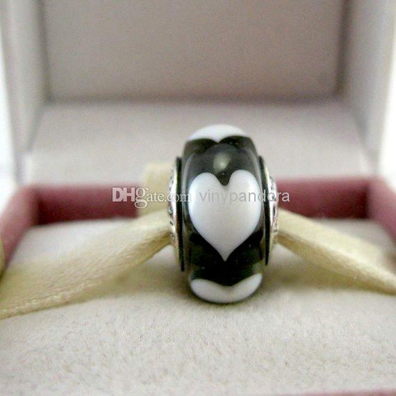 925 Sterling Silver Oxidized Screw Core White Hearts Grey Murano Glass Beads Fit Pandora Pulseras