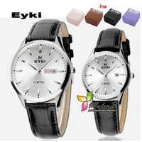 Wholesale Eyki Watch Steel Band - 2Pcs=1Pair lot,Eyki watch for couples lovers 2012,Week Date leather band watch ,30M dive watch,Gift box&FREE SHIPPING
