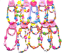 Wholesale Wooden Face Beads - Wholesale 120sets Lovely Cartoon wooden children Kid necklace+bracelet assorted set mix 10 colors Animal Beads Accessories