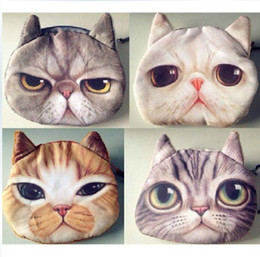 Discount key star wholesale - Cute Angry 3D cat cathead purse meow star people coin key bag cats cartoon handbag wallets holders best gift 4colors
