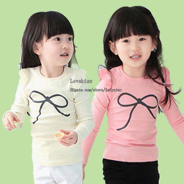 top popular Long Sleeve T Shirt Child Clothing Girls Cute Bowknot Printed Shirts Casual T Shirt Children T Shirts Kids Clothes Baby Round Neck Shirts 2020