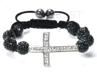 Wholesale Cheap Crystal Cross Wholesale - cheap! New!10mm black micro pave cz Disco disco Ball Beads Cross Bangles OMN Women Crystal Shamballa Bracelet jewelry wholesale HOT hotsale
