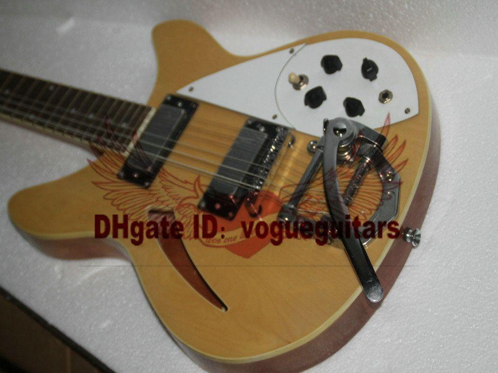 Benutzerdefinierte Deluxe Modell 12 STRING E-gitarre in Natürliche Semi Hollow beste china gitarre