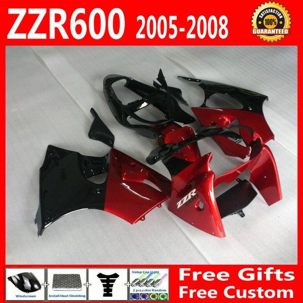 Set carenature + 7 regali per Kawasaki ZZR600 2005 2006 2007 2008 ZZR-600 05 06 07 08 ZX600J kit carrozzeria nero rosso pieno DA12