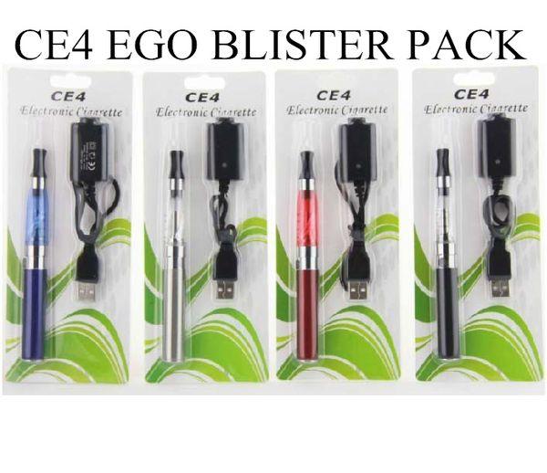 CE4 ego kit 1.6ml 2.4OHM Atomizer clearomizer Electronic Cigarette 650mah 900MAH 1100MAH blister pack colourful battery EGO serise