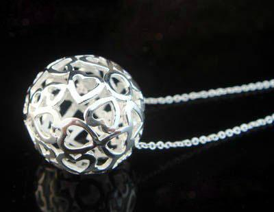 Fashion New 925 sterling silver Ball Pendants Necklace with pouch bag