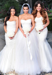 Wholesale Kim Kardashian Ball Gowns - Celebrity Wedding Dress Luxury Hot Sale Actual Images Strapless Lace and Tulle Ball Gown Wedding Dresses Bridal Gowns 2016 kim kardashian