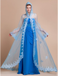 Wholesale Making Poncho - Christmas Extra Blue Organza Applique Long Sleeves Bridal Wedding Wraps Evening Hood Wedding Hooded Poncho (More Colors) HW1220003