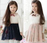 Wholesale Cotton Corduroy Girl Dress - New Arrival Child Dress Pure Cotton Long Sleeve Bowknot Floral Girl Net Yarn Dresses Baby Princess Dress Kids Spring Wear QZ420