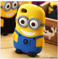 Wholesale Despicable Iphone 4s Cover - 3D Cartoon Despicable Me 2 Minion Minions Soft Silicone Rubber fragrance skin Case cover For Cell phone Apple iphone 4   4S 5   5S 5C