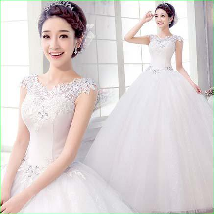 New Design White Wedding Ball Gown 2014 Hollow Out Floor Length Crystal Bandage Bateau Lace Bridal Dress 13122001 Bride Mermaid