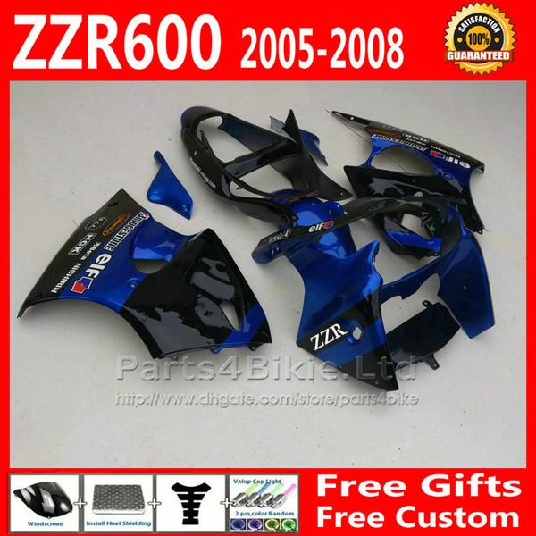 Racing fairing kit for ZZR600 Kawasaki 2005 2006 2007 2008 ZZR-600 ABS blue black fairings bodywork set 05 06 07 08 ZX600J +7 gifts fg22