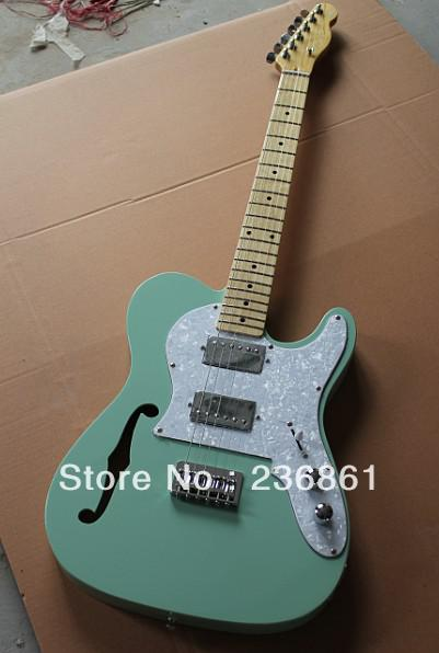 hot wholesale semi hollow tl telecaster tele humbucker pickups green electric guitar electric. Black Bedroom Furniture Sets. Home Design Ideas