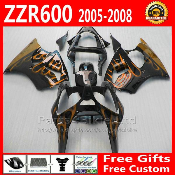 Popular fairing body kits for ZZR600 2005-2008 Kawasaki ZZR-600 05 06 07 08 ZX600J golden flame black motobike fairings set +7 gifts fg61