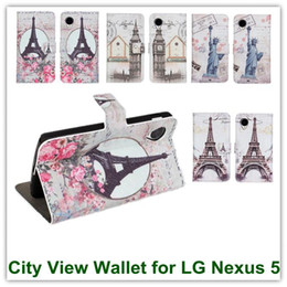 Wholesale Buy Leather Wallet - 10PCS X Elegant City View England Style PU Leather Wallet Pouch Cover Case for LG E980 Google Nexus 5 D820 Free Shipping