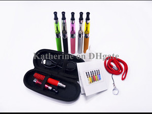 Wholesale E Cigarette Electronic Cigarette CE5 Kits with Lanyards CE5 Atomizer eGo t Battery Lanyard in a Zipper Case Various Colors Instock