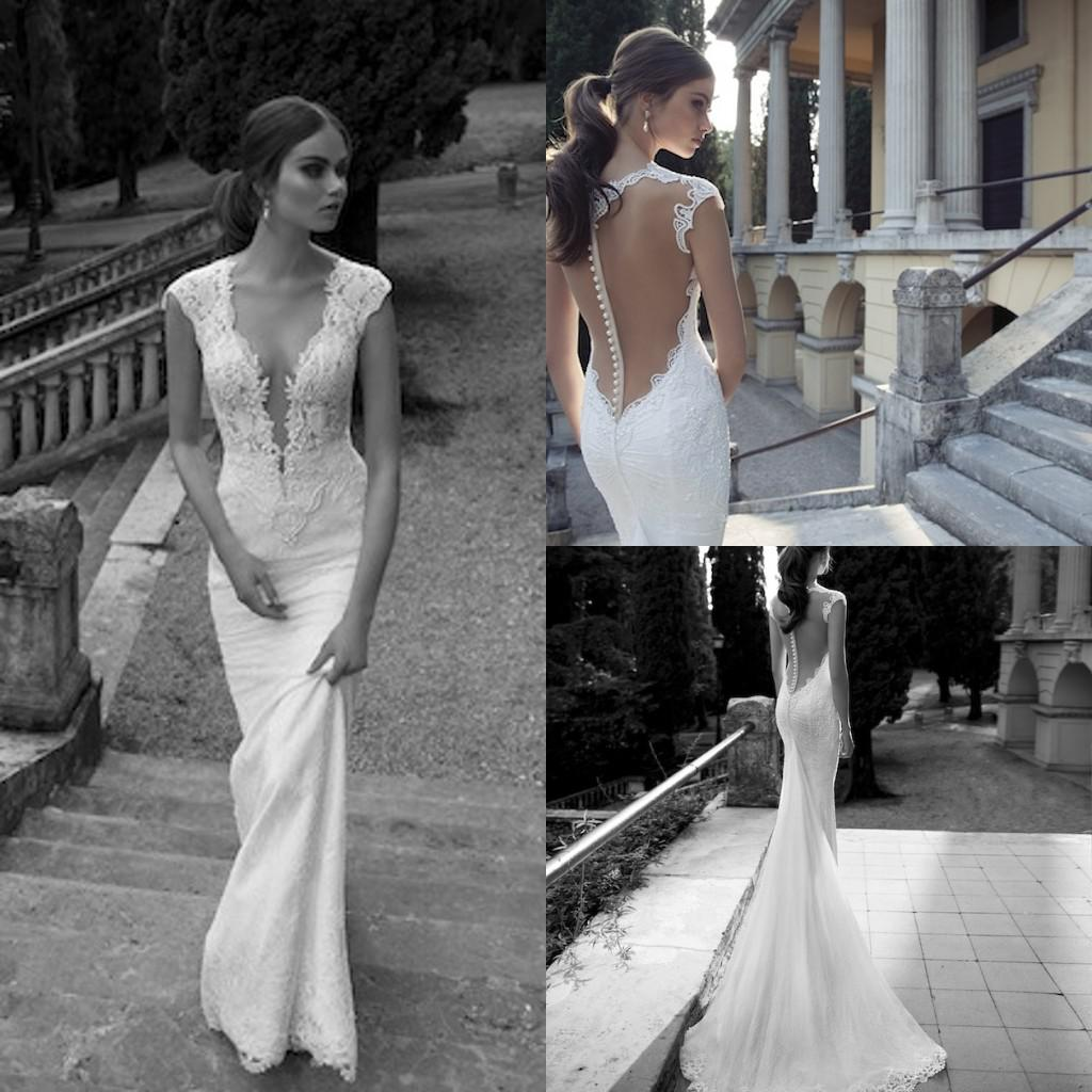 Berta Winter 2014 Lace Sheer Wedding Dresses Deep V Neck Illusion Back Covered Button Mermaid Court Train Bridal Gowns
