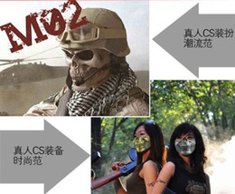 Wholesale Masquerade Fans - Christmas gifts Men's mask masquerade Skeleton warriors masks Half face terrorist CS army fan field masks Skull Hallowmas play 50pcs lot