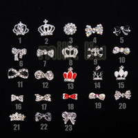 Wholesale Nail Bows Dangle - Wholesale - Nail Art Rhinestone100pcs lot 23 optional Nail Tips Dangle Jewelry Nail Art Decoration 3d Nail Bows