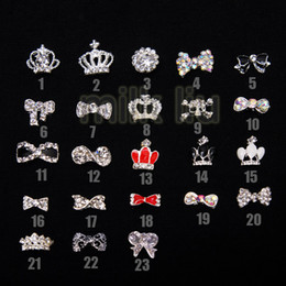 Wholesale 3d Nail Art Bows - Wholesale - Nail Art Rhinestone100pcs lot 23 optional Nail Tips Dangle Jewelry Nail Art Decoration 3d Nail Bows