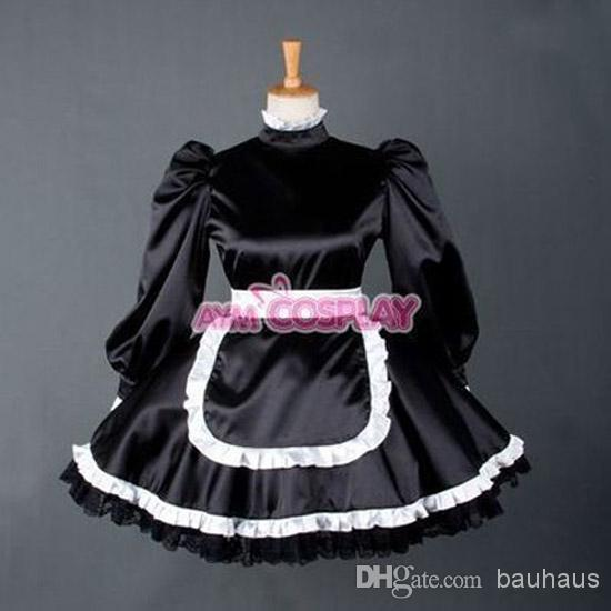 purple and black gothic dresses sexy sissy maid black satin dress gothic clothing dresses for