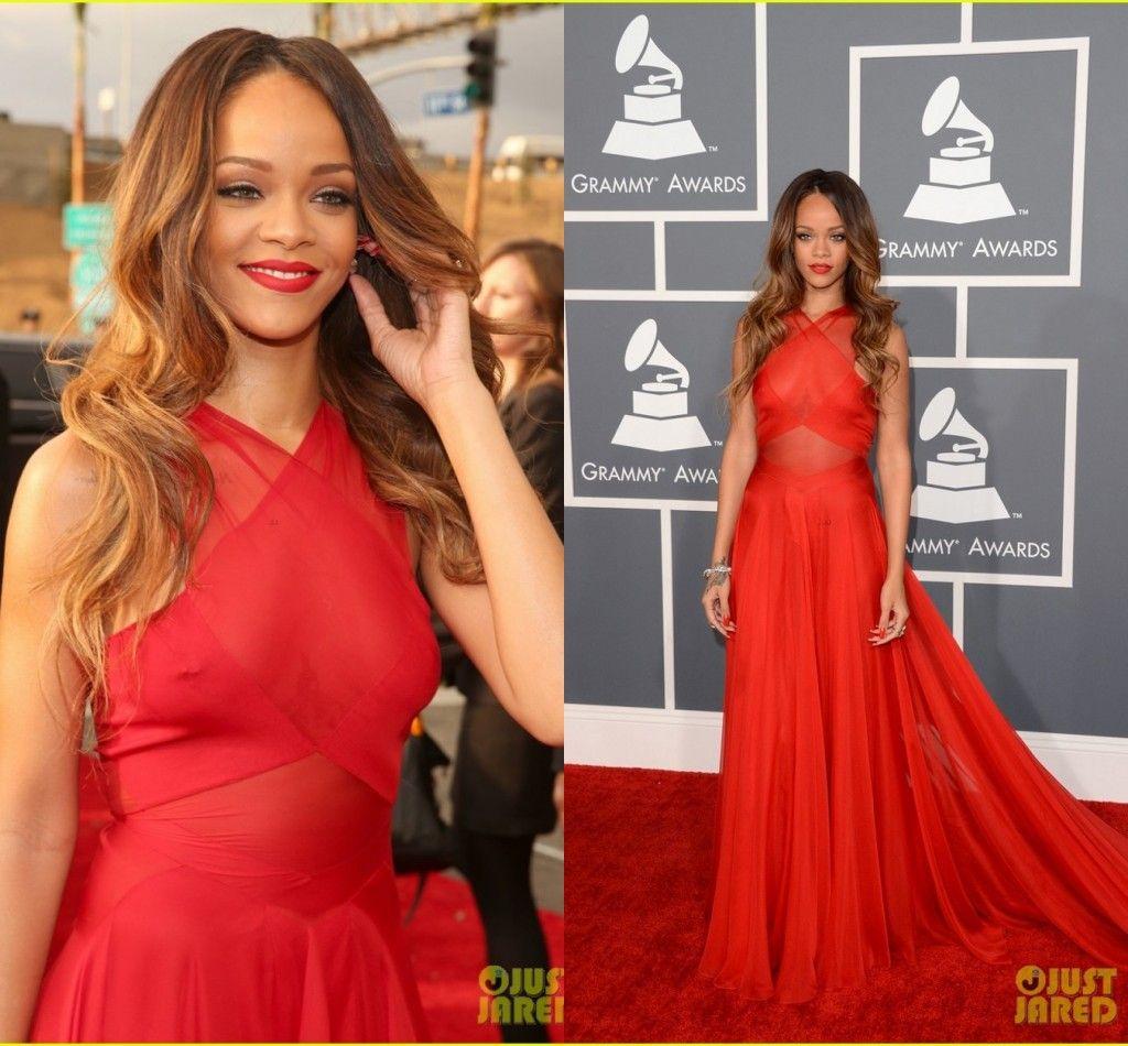 Grammys 2018 Rihanna rocks tight dress and matching coat