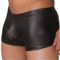 Wholesale Leather Shorts Underwear - underwear men sexy faux leather Men's fashion boxers shorts Man panties brand tight boy High quality nylon satin boxer novelty