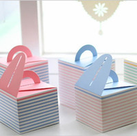 Wholesale Eco Friendly Paper Packaging - 9.5*9.5*11cm Blue Pink Yellow Lovely MINI Candy Cake Paper Box Color Gift Packaging Box Wedding Favors 80pcs lot CK030