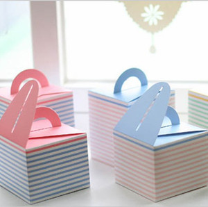 Wholesale 9 cm Blue Pink Yellow Lovely MINI Candy Cake Paper Box Color Gift Packaging Box Wedding Favors CK030