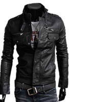 Wholesale Leather Coat Designs Men - S5Q Men's Slim Fit Top Designed Sexy PU Leather Short Jacket Coat Long Sleeve AAACMZ