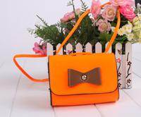 Wholesale Orange Wristlet Bag - 1pcs Fashion Bowknot Wristlet Orange Single Shoulder Bag #24137