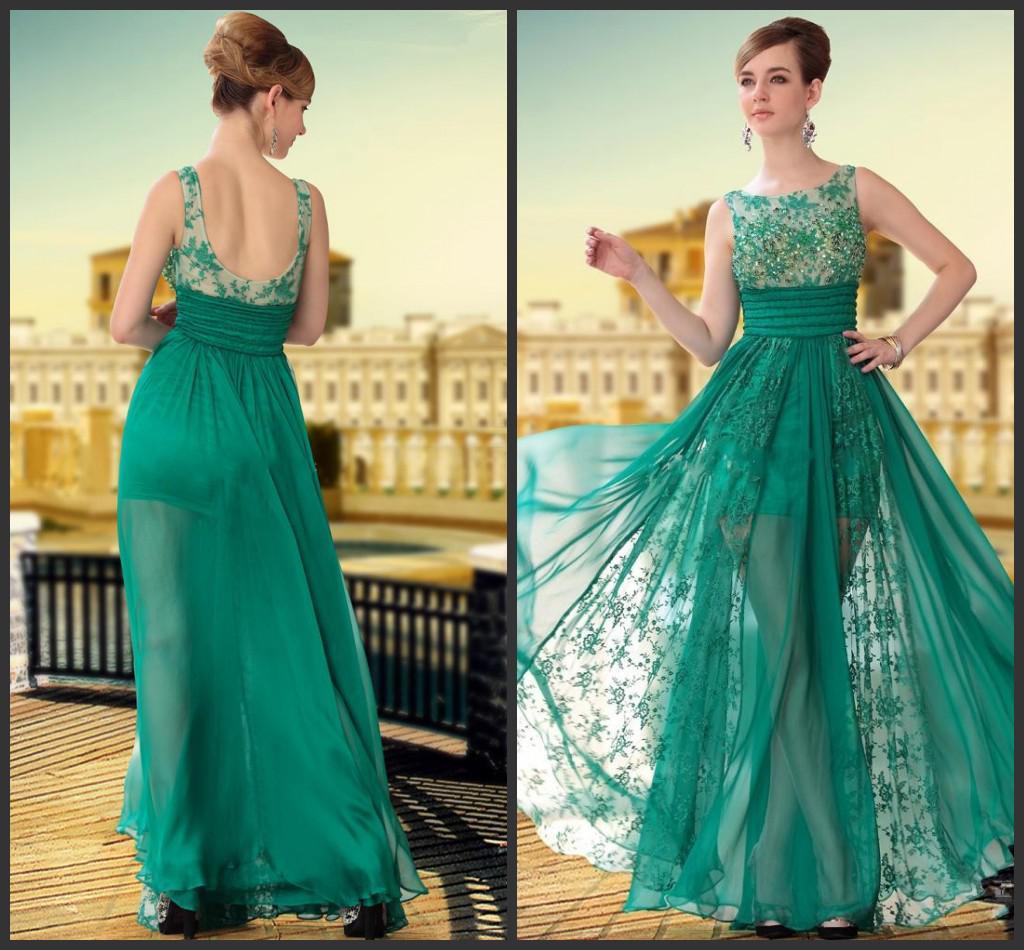 Moda ver a través de encaje verde Vestidos largos de baile Vestidos de noche verde gasa columna columna sin mangas piso longitud cremallera barato