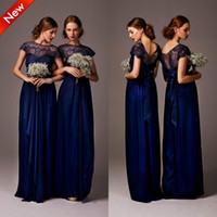 New High Neck Cap Sleeve Satin Lace Bridesmaid Dresses Party...