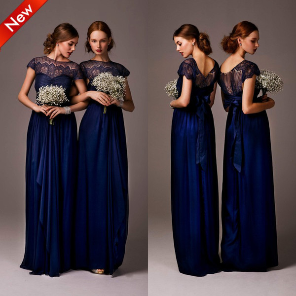 New High Neck Cap Sleeve Satin Lace Bridesmaid Dresses Party Dress Ivory/Coral/Yellow/Red/Royal Blue/Lavender/Purple/Green/Orange With Sash